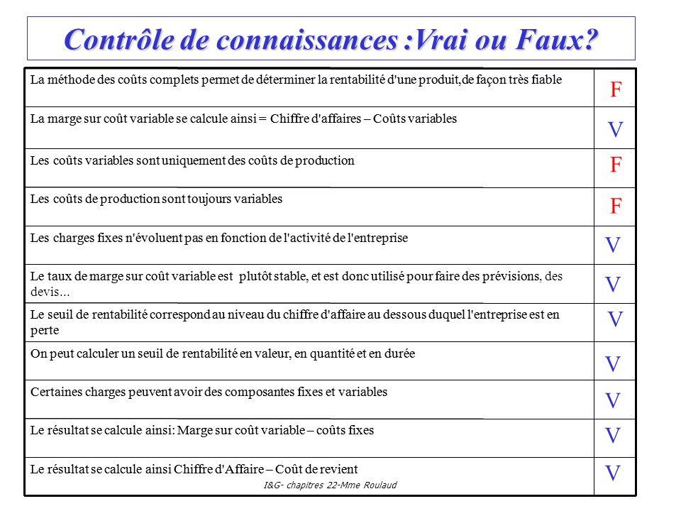I&G- chapitres 22-Mme Roulaud Contrôle de connaissances :Vrai ou Faux? Les charges fixes n'évoluent pas en fonction de l'activité de l'entreprise Les