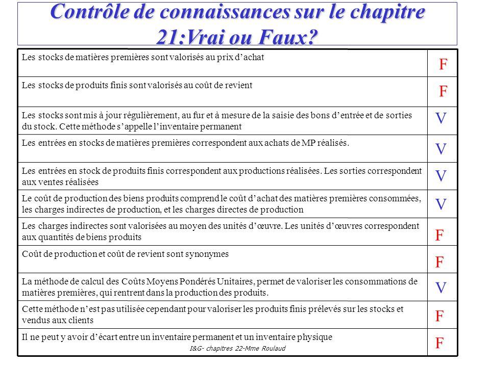 I&G- chapitres 22-Mme Roulaud Contrôle de connaissances sur le chapitre 21:Vrai ou Faux? Les entrées en stock de produits finis correspondent aux prod