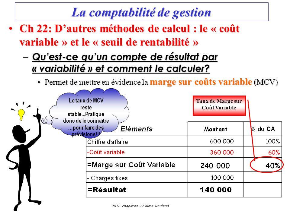 I&G- chapitres 22-Mme Roulaud La comptabilité de gestion Ch 22: Dautres méthodes de calcul : le « coût variable » et le « seuil de rentabilité »Ch 22: