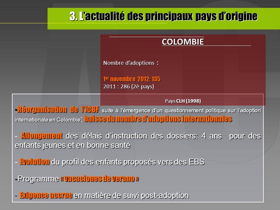 -Réorganisation de lICBF suite à lémergence dun questionnement politique sur ladoption internationale en Colombie baisse du nombre dadoptions internat
