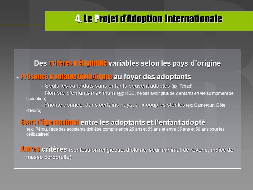 Des critères déligibilité variables selon les pays dorigine Présence denfants biologiques au foyer des adoptants - Présence denfants biologiques au fo