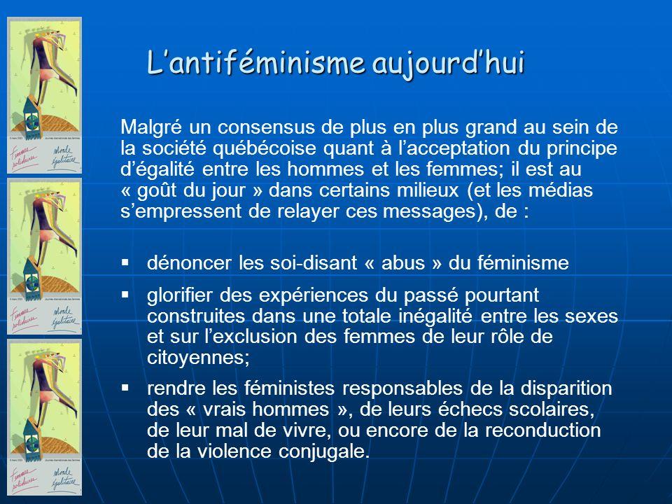 Malgré un consensus de plus en plus grand au sein de la société québécoise quant à lacceptation du principe dégalité entre les hommes et les femmes; i