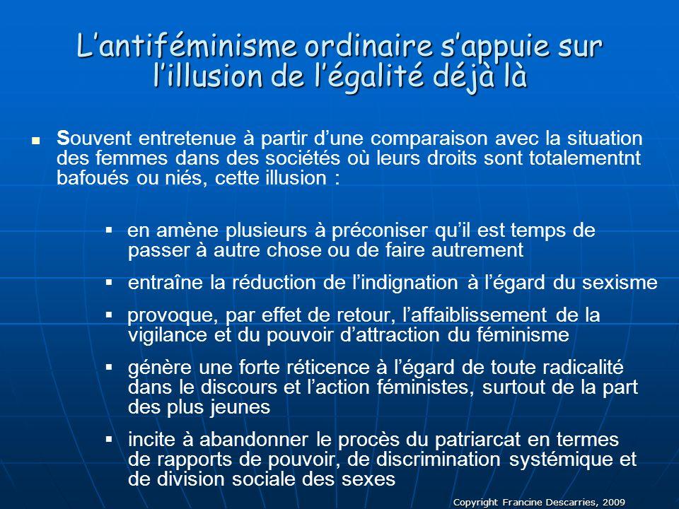 Copyright Francine Descarries, 2009 Lantiféminisme ordinaire sappuie sur lillusion de légalité déjà là Souvent entretenue à partir dune comparaison av
