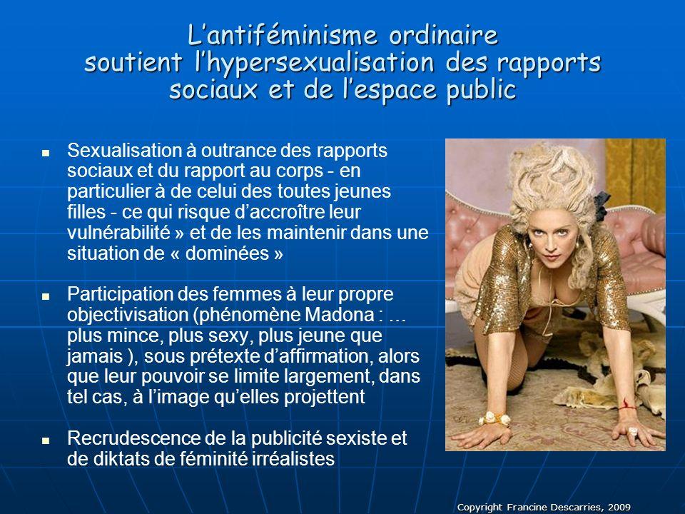 Copyright Francine Descarries, 2009 Lantiféminisme ordinaire soutient lhypersexualisation des rapports sociaux et de lespace public Sexualisation à ou