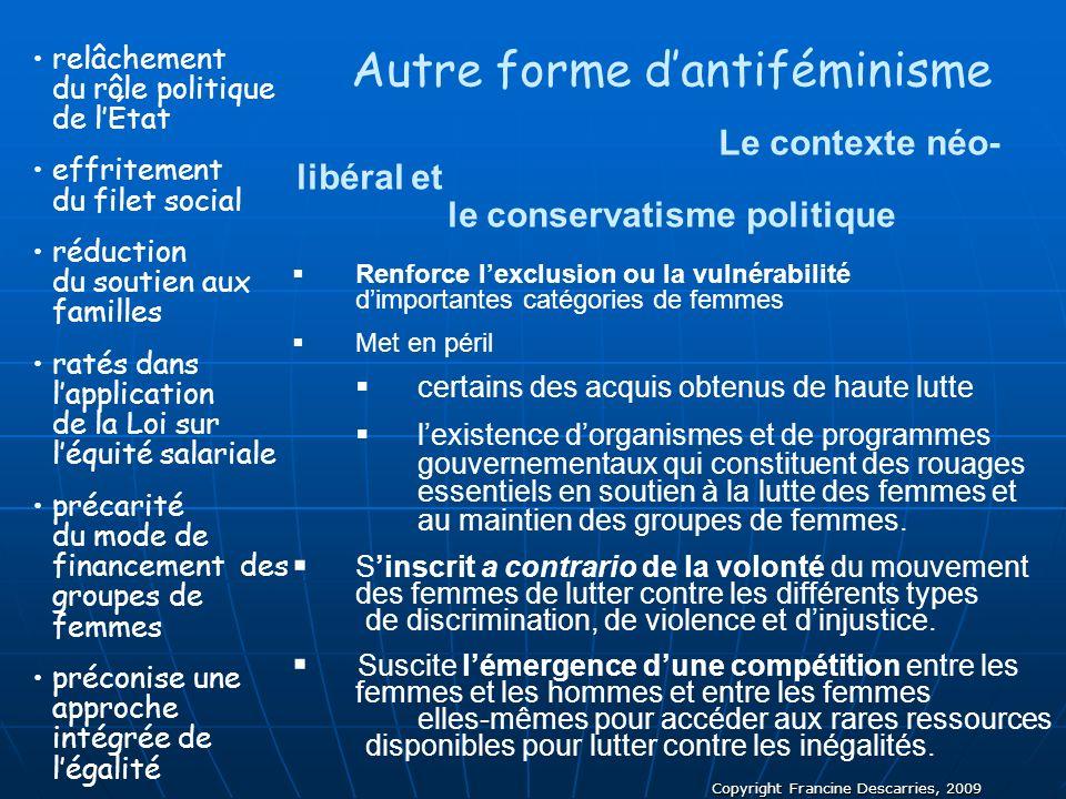 Copyright Francine Descarries, 2009 Autre forme dantiféminisme Le contexte néo- libéral et le conservatisme politique Renforce lexclusion ou la vulnér