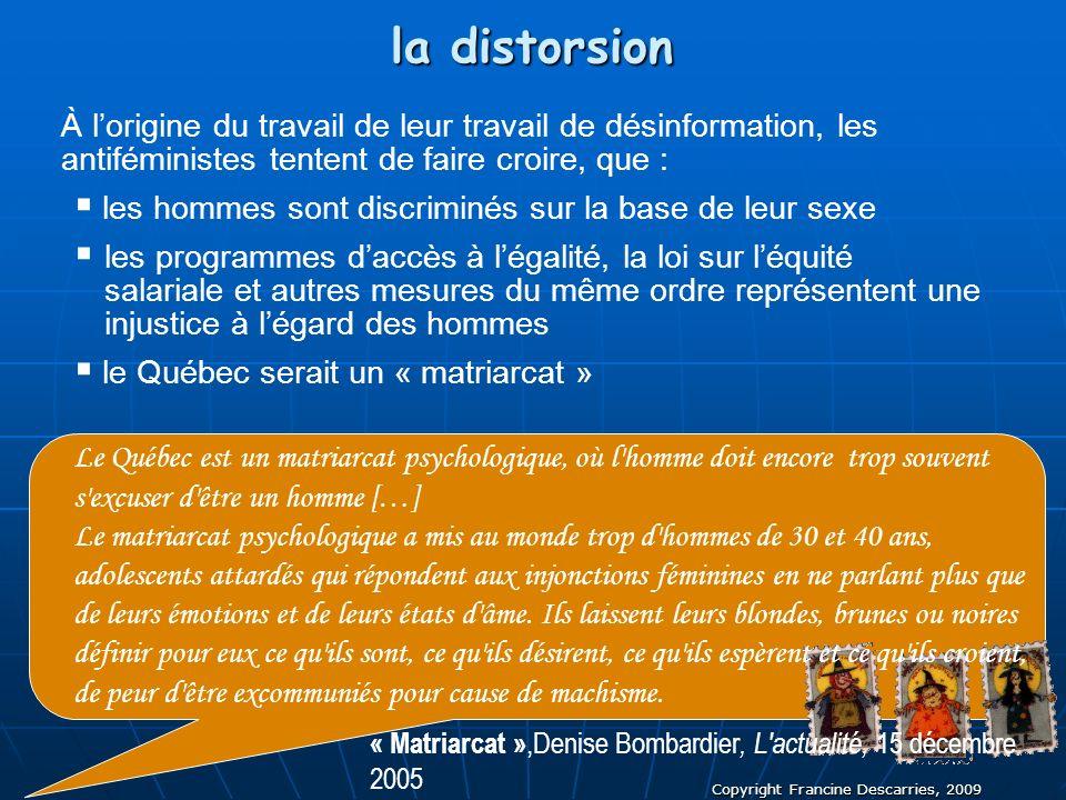 Copyright Francine Descarries, 2009 la distorsion À lorigine du travail de leur travail de désinformation, les antiféministes tentent de faire croire,