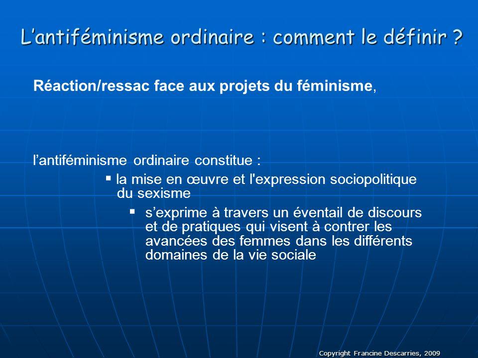 Copyright Francine Descarries, 2009 Lantiféminisme ordinaire : comment le définir ? Réaction/ressac face aux projets du féminisme, lantiféminisme ordi