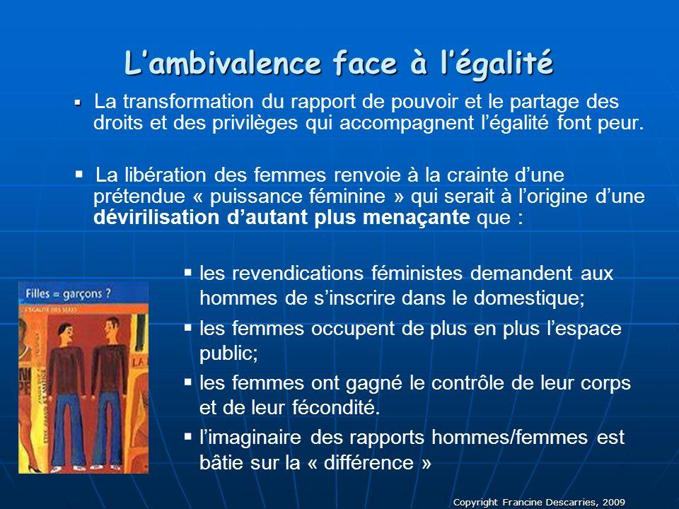 Copyright Francine Descarries, 2009 Lambivalence face à légalité La transformation du rapport de pouvoir et le partage des droits et des privilèges qu