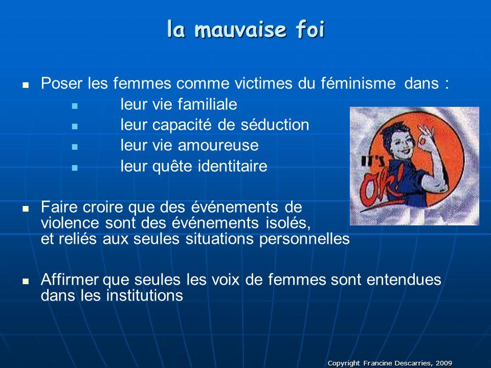 Copyright Francine Descarries, 2009 la mauvaise foi Poser les femmes comme victimes du féminisme dans : leur vie familiale leur capacité de séduction