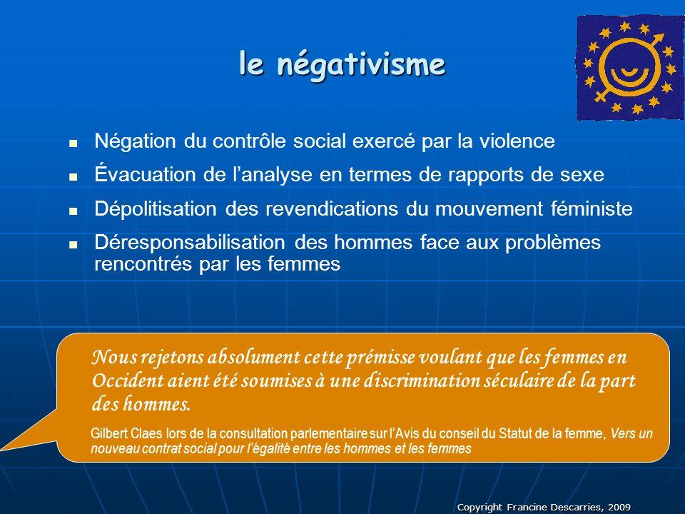 Copyright Francine Descarries, 2009 le négativisme Négation du contrôle social exercé par la violence Évacuation de lanalyse en termes de rapports de