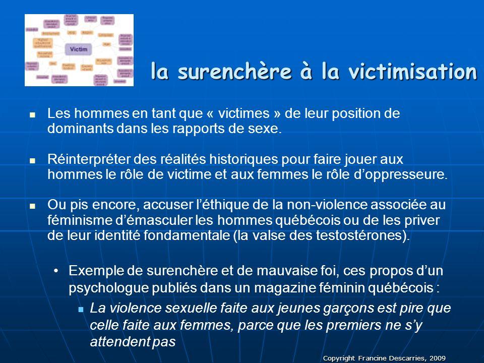 Copyright Francine Descarries, 2009 la surenchère à la victimisation Les hommes en tant que « victimes » de leur position de dominants dans les rappor