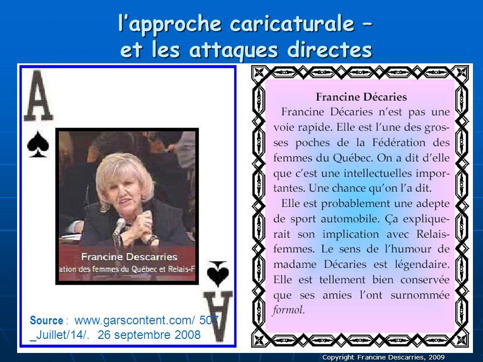 Copyright Francine Descarries, 2009 lapproche caricaturale – et les attaques directes Source : www.garscontent.com/ 507 _Juillet/14/. 26 septembre 200