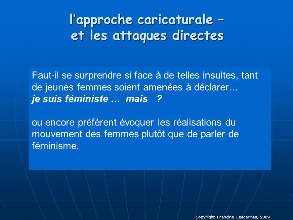 Copyright Francine Descarries, 2009 Faut-il se surprendre si face à de telles insultes, tant de jeunes femmes soient amenées à déclarer… je suis fémin