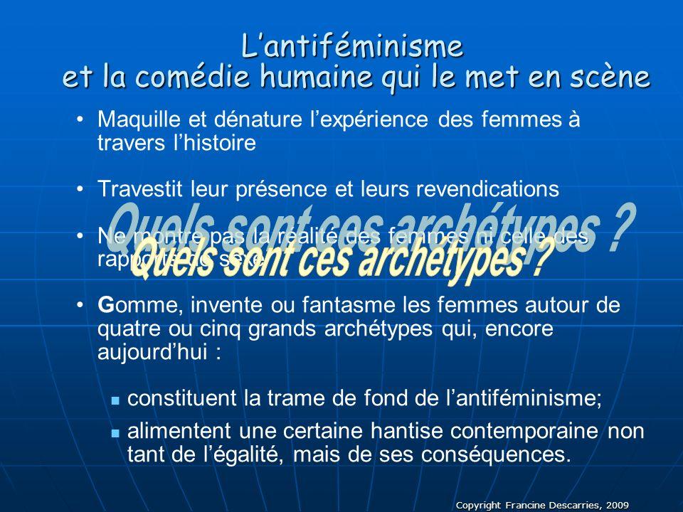 Copyright Francine Descarries, 2009 Lantiféminisme et la comédie humaine qui le met en scène Maquille et dénature lexpérience des femmes à travers lhi