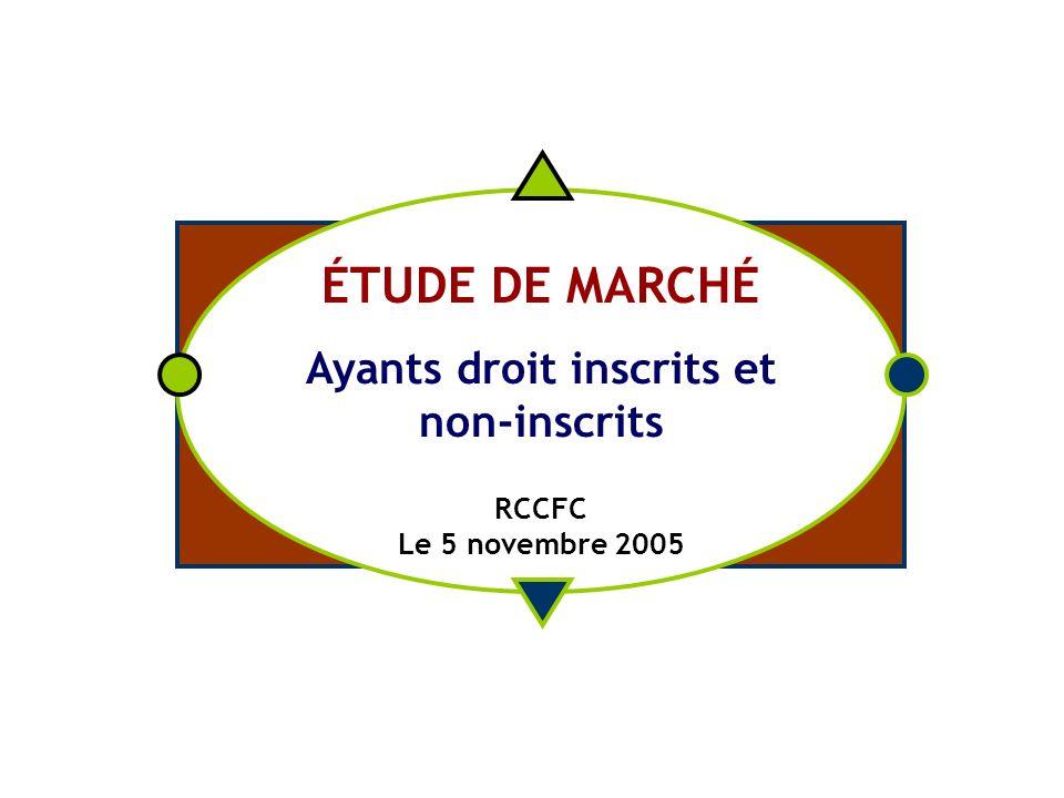 ÉTUDE DE MARCHÉ Ayants droit inscrits et non-inscrits RCCFC Le 5 novembre 2005