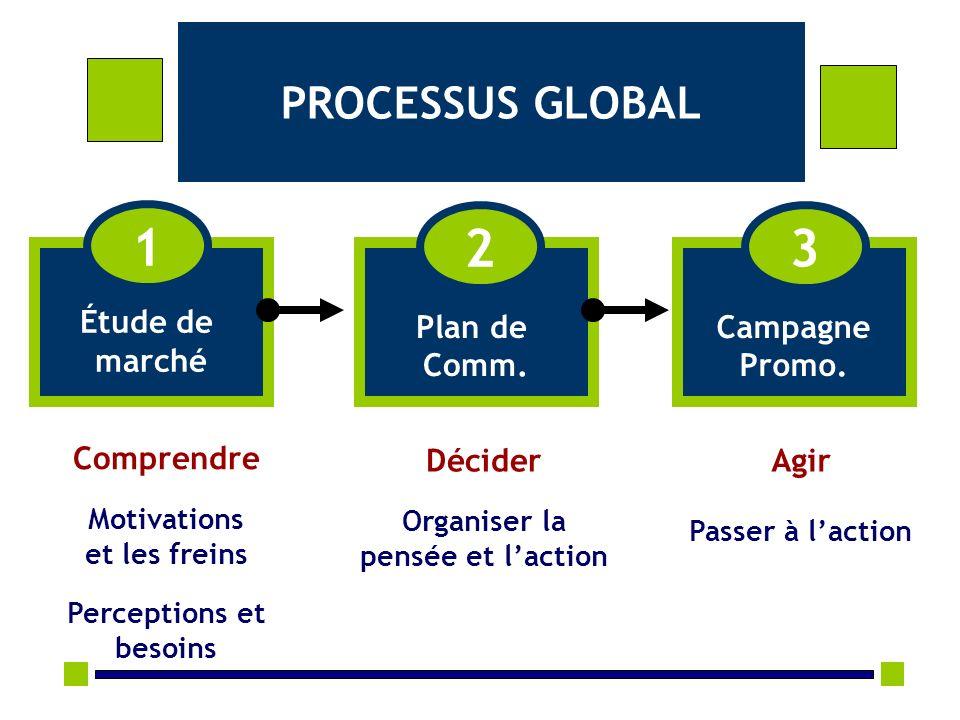 PROCESSUS GLOBAL Comprendre Motivations et les freins Perceptions et besoins Décider Organiser la pensée et laction Agir Passer à laction Étude de marché Plan de Comm.
