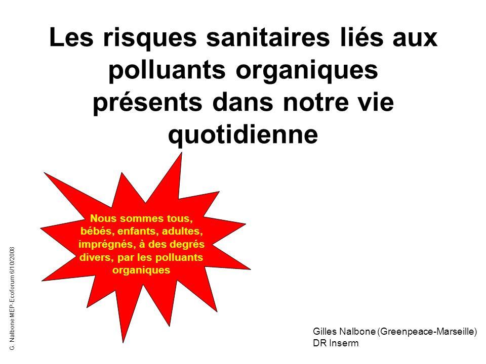 Les risques sanitaires liés aux polluants organiques présents dans notre vie quotidienne Gilles Nalbone (Greenpeace-Marseille) DR Inserm Nous sommes t