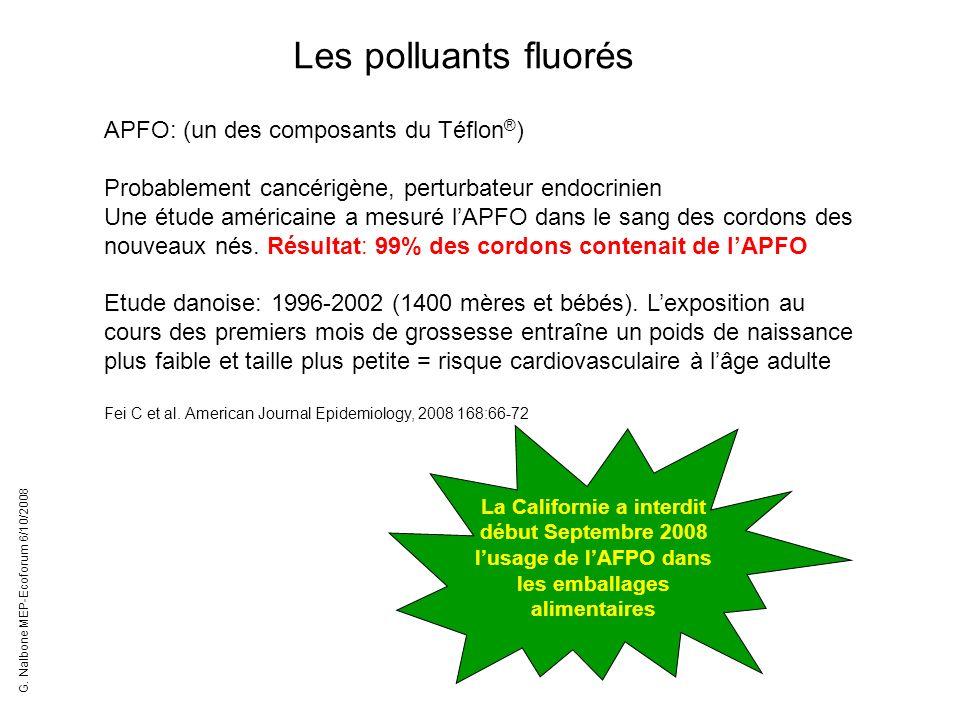 Les polluants fluorés APFO: (un des composants du Téflon ® ) Probablement cancérigène, perturbateur endocrinien Une étude américaine a mesuré lAPFO da