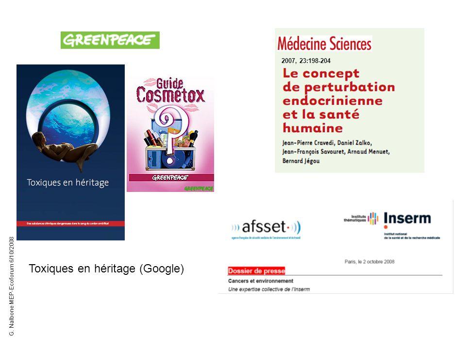 2007, 23:198-204 Toxiques en héritage (Google) G. Nalbone MEP-Ecoforum 6/10/2008
