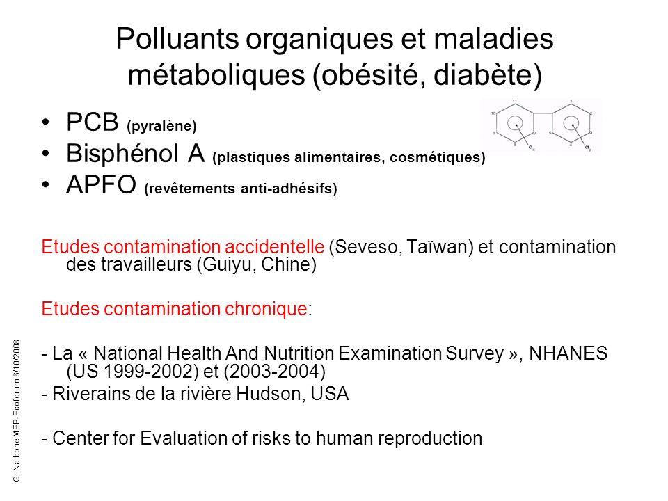 Polluants organiques et maladies métaboliques (obésité, diabète) PCB (pyralène) Bisphénol A (plastiques alimentaires, cosmétiques) APFO (revêtements a