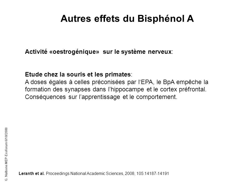 Activité «oestrogénique» sur le système nerveux: Etude chez la souris et les primates: A doses égales à celles préconisées par lEPA, le BpA empêche la