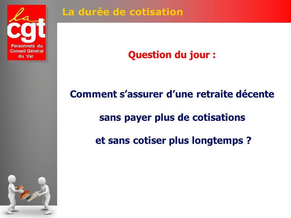 La durée de cotisation Question du jour : Comment sassurer dune retraite décente sans payer plus de cotisations et sans cotiser plus longtemps ?