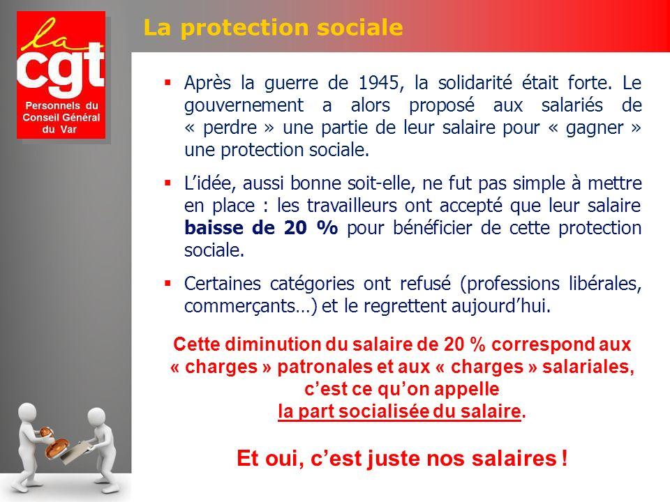 La protection sociale Après la guerre de 1945, la solidarité était forte. Le gouvernement a alors proposé aux salariés de « perdre » une partie de leu