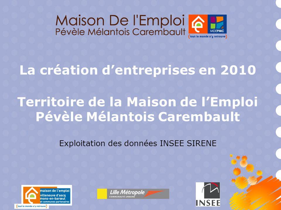 La création dentreprises en 2010 Territoire de la Maison de lEmploi Pévèle Mélantois Carembault Exploitation des données INSEE SIRENE