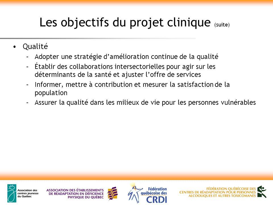 Les objectifs du projet clinique (suite) Qualité –Adopter une stratégie damélioration continue de la qualité –Établir des collaborations intersectorie