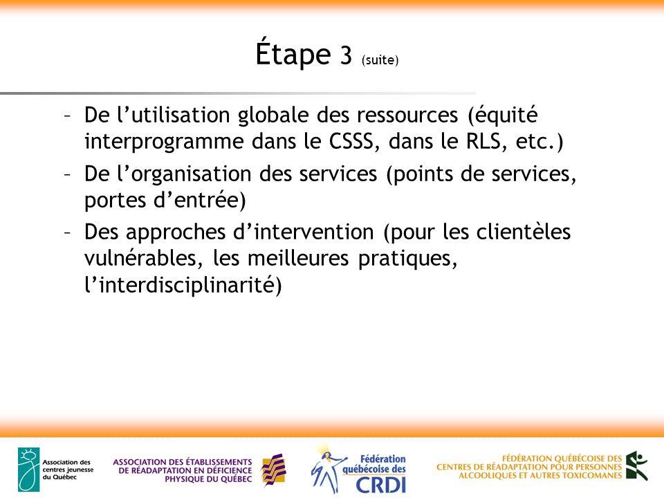 Étape 3 (suite) –De lutilisation globale des ressources (équité interprogramme dans le CSSS, dans le RLS, etc.) –De lorganisation des services (points