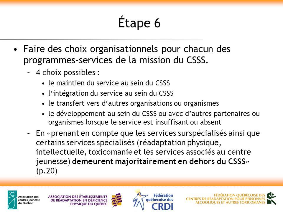 Étape 6 Faire des choix organisationnels pour chacun des programmes-services de la mission du CSSS. –4 choix possibles : le maintien du service au sei