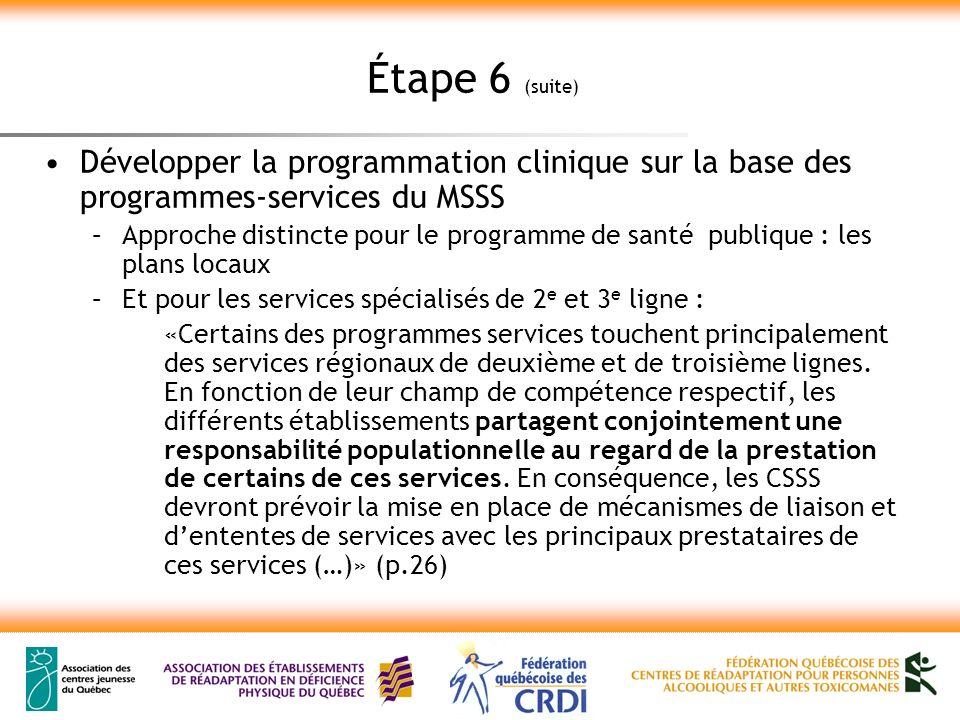 Étape 6 (suite) Développer la programmation clinique sur la base des programmes-services du MSSS –Approche distincte pour le programme de santé publiq