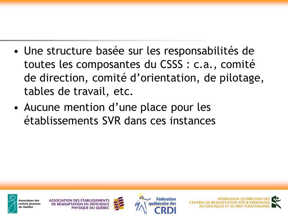 Une structure basée sur les responsabilités de toutes les composantes du CSSS : c.a., comité de direction, comité dorientation, de pilotage, tables de