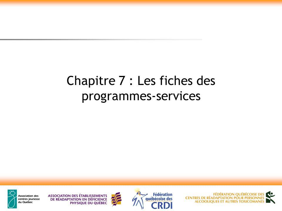 Chapitre 7 : Les fiches des programmes-services