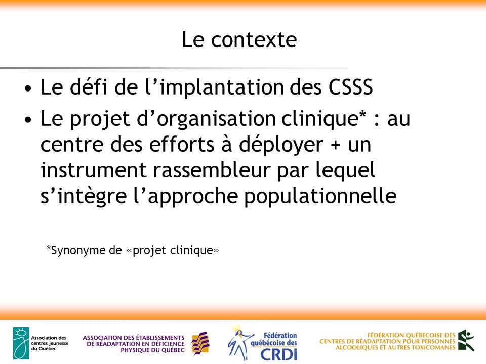 Le contexte Le défi de limplantation des CSSS Le projet dorganisation clinique* : au centre des efforts à déployer + un instrument rassembleur par leq