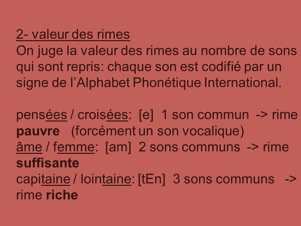 2- valeur des rimes On juge la valeur des rimes au nombre de sons qui sont repris: chaque son est codifié par un signe de lAlphabet Phonétique International.