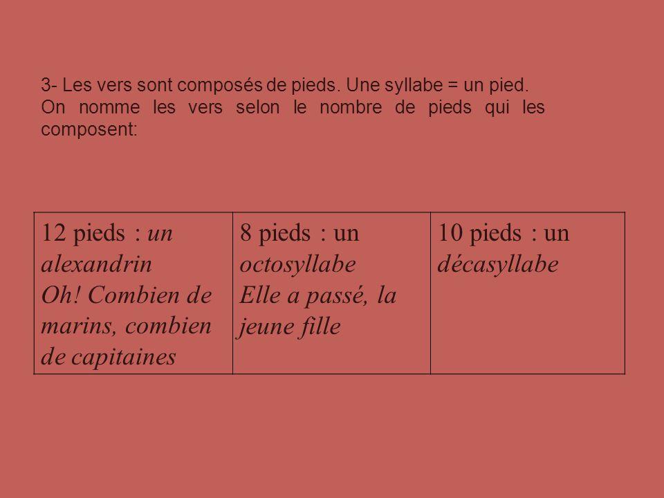 3- Les vers sont composés de pieds. Une syllabe = un pied. On nomme les vers selon le nombre de pieds qui les composent: 12 pieds : un alexandrin Oh!