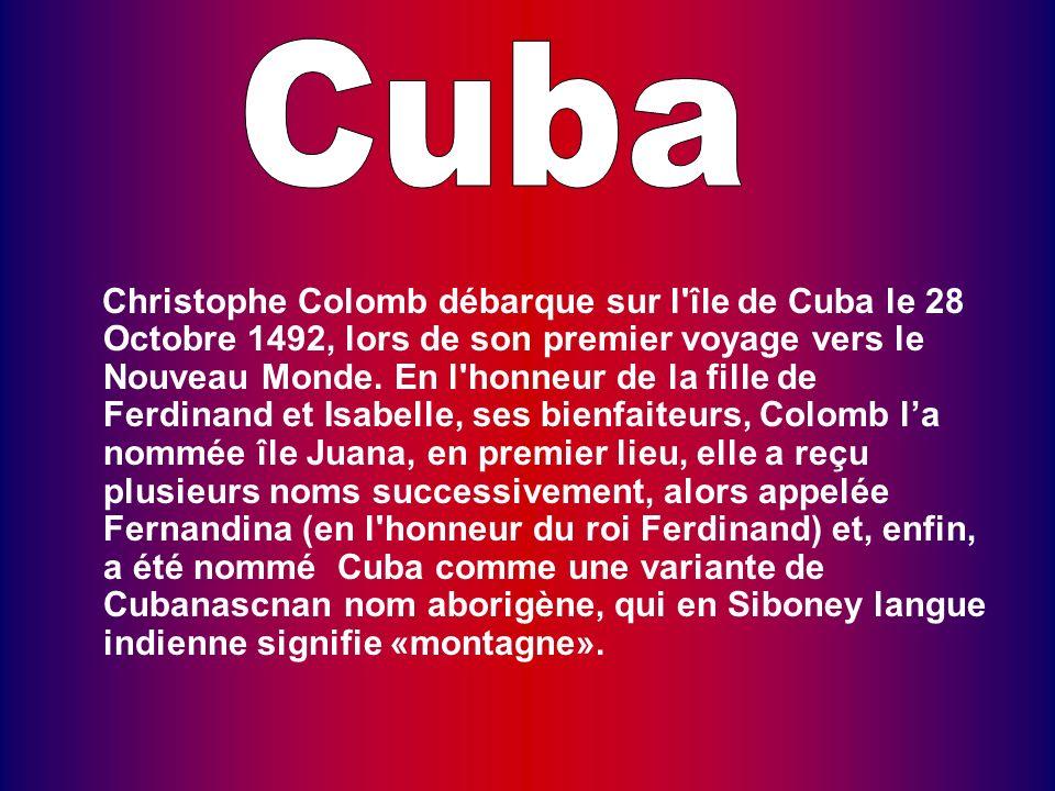 Christophe Colomb débarque sur l île de Cuba le 28 Octobre 1492, lors de son premier voyage vers le Nouveau Monde.
