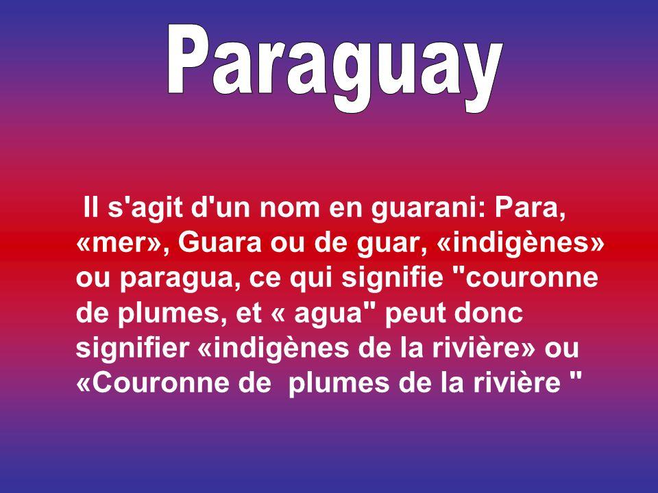 Il s agit d un nom en guarani: Para, «mer», Guara ou de guar, «indigènes» ou paragua, ce qui signifie couronne de plumes, et « agua peut donc signifier «indigènes de la rivière» ou «Couronne de plumes de la rivière