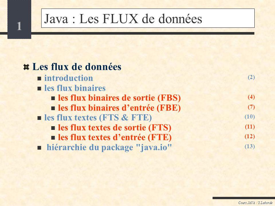 1 Cours JAVA / Y.Laborde Java : Les FLUX de données Les flux de données introduction les flux binaires les flux binaires de sortie (FBS) les flux binaires dentrée (FBE) les flux textes (FTS & FTE) les flux textes de sortie (FTS) les flux textes dentrée (FTE) hiérarchie du package java.io (2) (4) (7) (10) (11) (12) (13)
