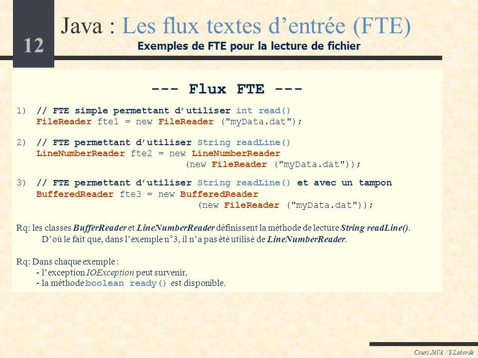 12 Cours JAVA / Y.Laborde --- Flux FTE --- 1)// FTE simple permettant dutiliser int read() FileReader fte1 = new FileReader ( myData.dat ); 2)// FTE permettant dutiliser String readLine() LineNumberReader fte2 = new LineNumberReader (new FileReader ( myData.dat )); 3)// FTE permettant dutiliser String readLine() et avec un tampon BufferedReader fte3 = new BufferedReader (new FileReader ( myData.dat )); Rq: les classes BufferReader et LineNumberReader définissent la méthode de lecture String readLine().