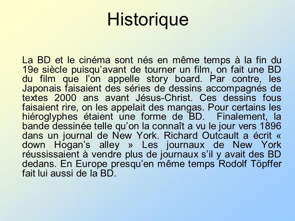 Historique La BD et le cinéma sont nés en même temps à la fin du 19e siècle puisquavant de tourner un film, on fait une BD du film que lon appelle sto