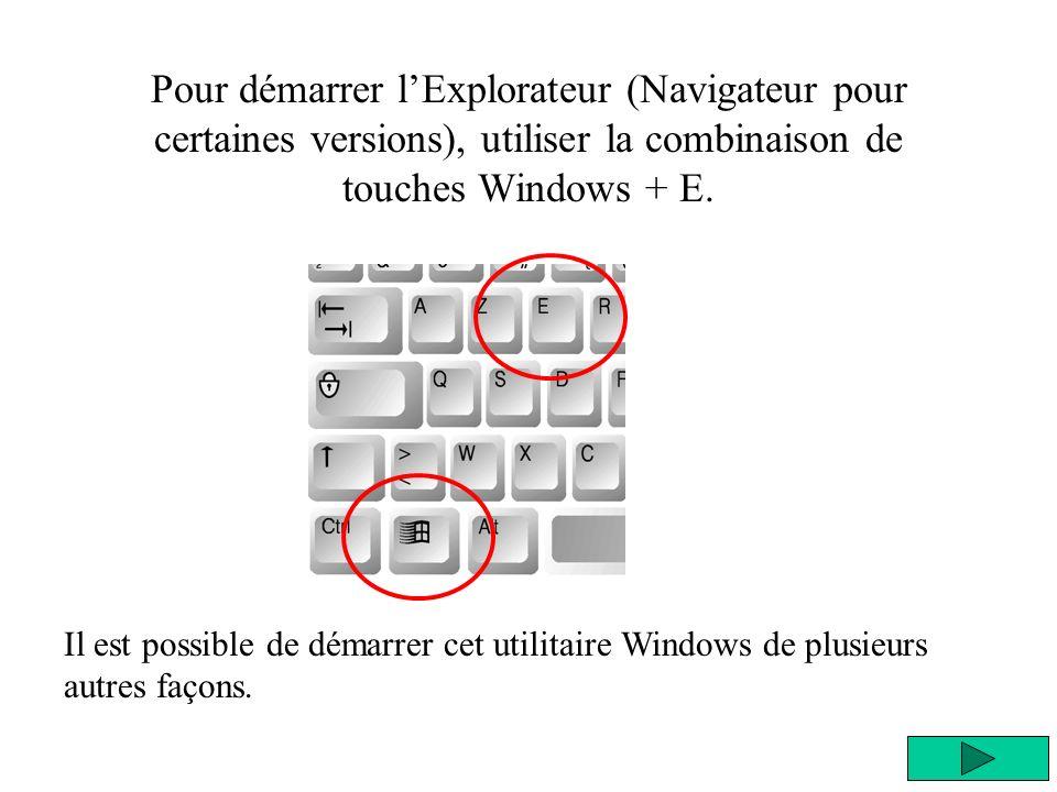 Pour démarrer lExplorateur (Navigateur pour certaines versions), utiliser la combinaison de touches Windows + E.