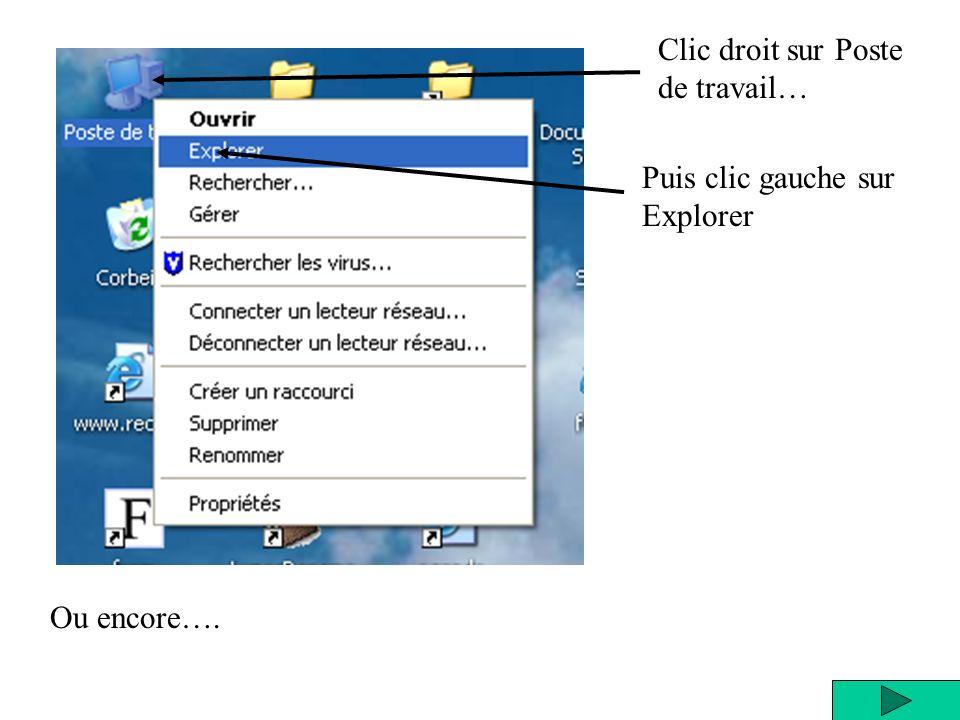 Clic droit sur Poste de travail… Puis clic gauche sur Explorer Ou encore….