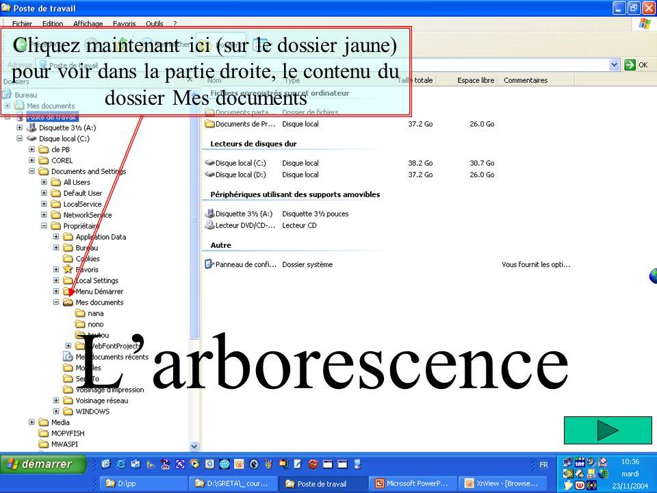 Larborescence Cliquez maintenant ici (sur le dossier jaune) pour voir dans la partie droite, le contenu du dossier Mes documents