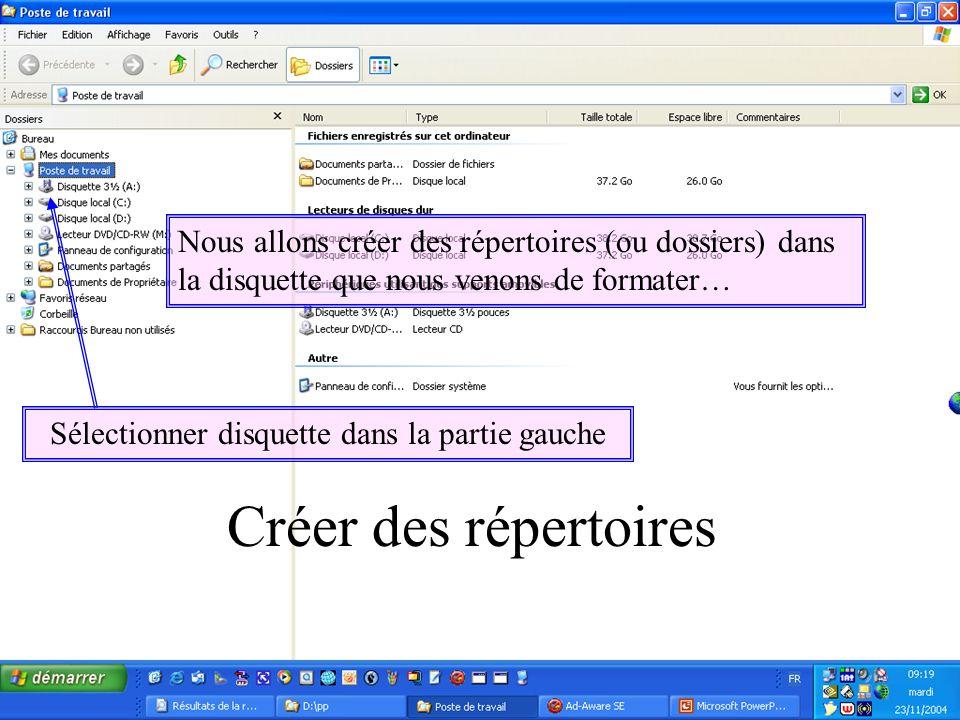 Nous allons créer des répertoires (ou dossiers) dans la disquette que nous venons de formater… Sélectionner disquette dans la partie gauche