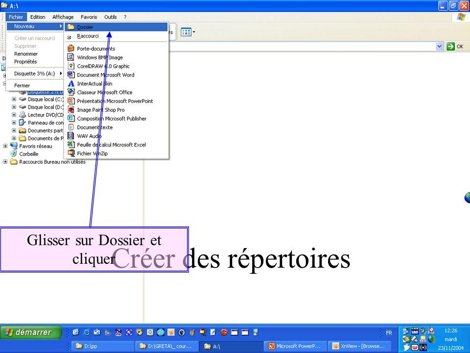Créer des répertoires Glisser sur Dossier et cliquer