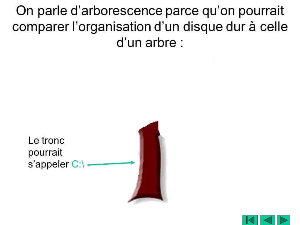 On parle darborescence parce quon pourrait comparer lorganisation dun disque dur à celle dun arbre : Le tronc pourrait sappeler C:\
