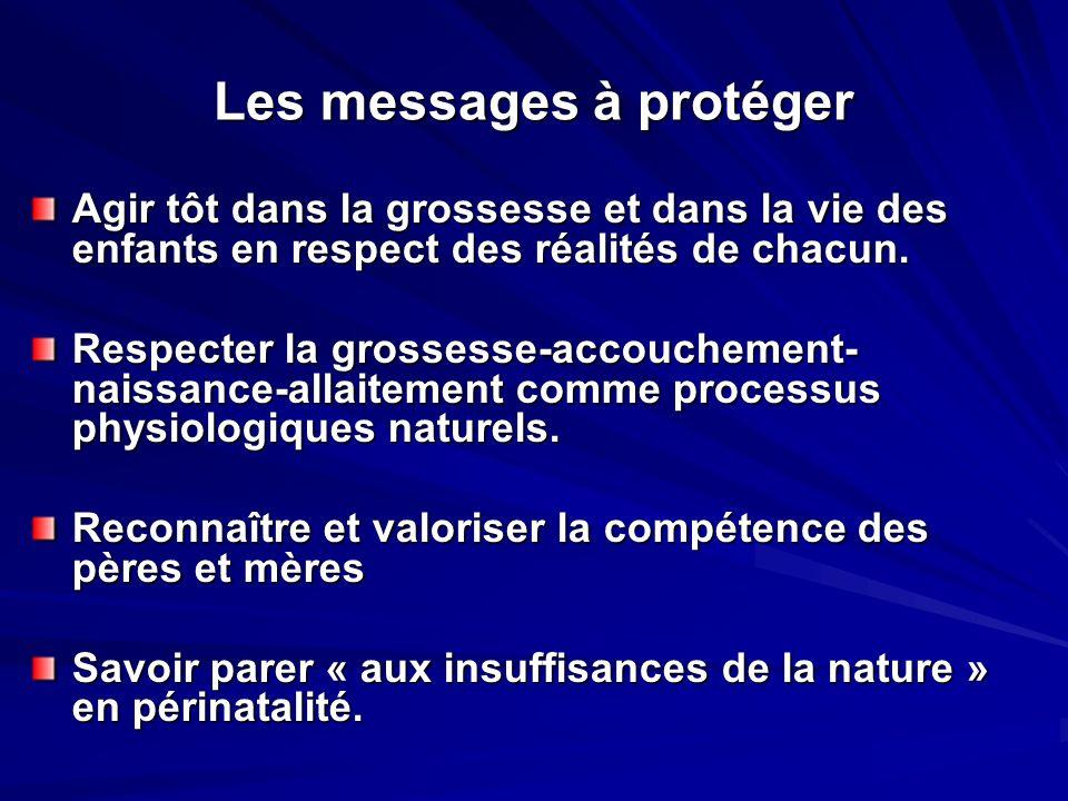 Les messages à protéger Agir tôt dans la grossesse et dans la vie des enfants en respect des réalités de chacun.