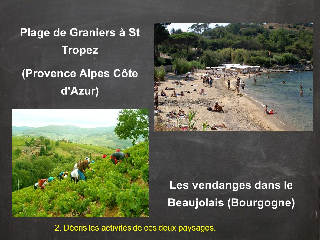 2. Décris les activités de ces deux paysages. Plage de Graniers à St Tropez (Provence Alpes Côte d'Azur) Les vendanges dans le Beaujolais (Bourgogne)